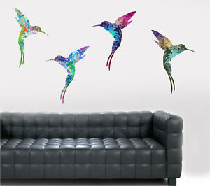Colourful Flying Hummingbirds 4 Pack Wall Art Vinyl Stickers Humming Birds Decal