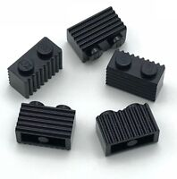 Lego 5 New  Black Bricks Modified 1 x 2 with Grille Flutes Parts