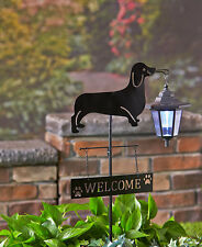 Dachshund Dog Welcome Stake Solar Light Lantern Yard Garden Deck Patio Decor