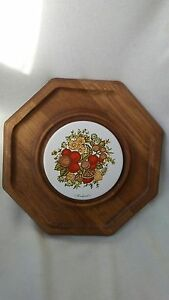 vintage wooden and ceramic cheese and cracker party serving plate