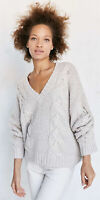 Urban Outfitters Kimchi Blue V Neck Sweater Cable Knit Oversized Cream XS/S