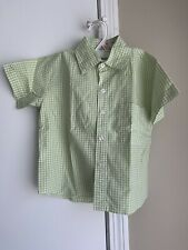 R. Lee Toddler Boys' Size 3 100% Cotton Green Gingham Button Down Shirt Euc