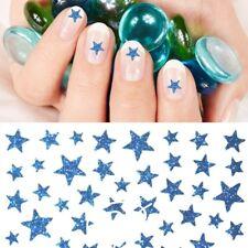 Nagelsticker Glitter Sterne Blau Selbstklebend Nailartsticker Glitzer Bunt