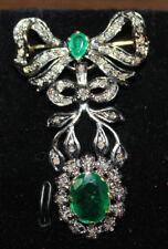 2.20cts ROSE CUT DIAMOND EMERALD ANTIQUE VICTORIAN LOOK SILVER BROOCH PIN