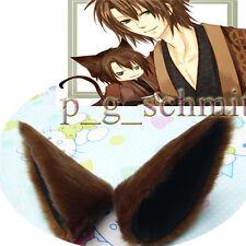Animal Long fur fox Ears Girls Fancy Dress Hair clip Brown Headpiece
