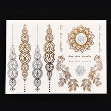 Tatuaggio Temporaneo Metallico Or Oro Effimero Ornamentale Orientale Matrimonio