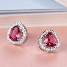 18k White Gold Ruby Red & White crystal Stud Earrings 420