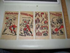 4 Vintage 1950s Davy Crockett Iron On T-Shirt Decals Original Old Stock