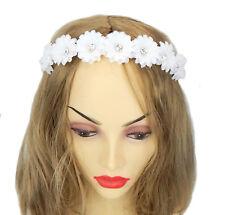 Ella Jonte Hairband White Rhinestone Flowers Wedding Bridal Jewelry Fabric Satin