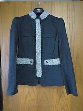 Chanel Black Linen Tweed Trim Logo Buttons Mandarin Hook Front Jacket 38