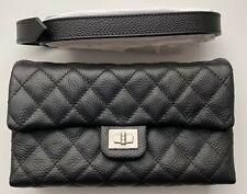 CHANEL UNIFORM BAG ON BELT LEATHER BLACK Quilted Caviar Waist Bum Bag LOGO RARE