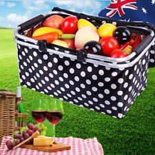 Foldable Cooler Bag Outdoor Picnic Basket Camping Black Dot Carry HBASK3795