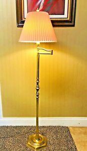 Vintage Stiffel Polished Brass Swing Arm Floor Lamp 3 Way Switch