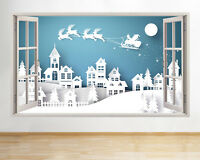 Wall Stickers Snow Christmas Winter Santa Window Decal 3D Art Vinyl Room C678