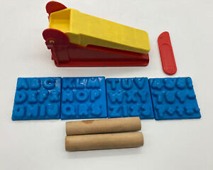 Vintage 1972 Play-Doh Fun Factory Extruder & 1976 Alphabet Mold Wooden Rollers