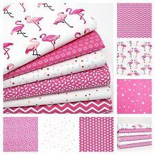 FLAMINGOS 100% COTTON fabric FQ METRE OR BUNDLE pink cerise CLOUDS DOTS