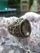 Sterling Silver 925 Faceted Gemstone Ornate Chunky Design Ring 10g Sz7