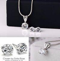 Bridesmaid Jewelry Set, Crystal Necklace & Earrings Wedding Bridal Jewellery