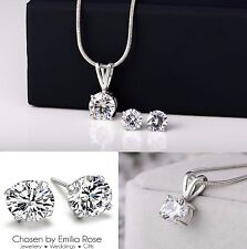 Wedding / Prom Jewelry Set, Bridesmaid Crystal Rhinestone Necklace & Earrings