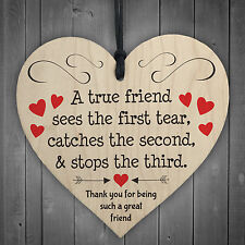 Thank You For Being A Great Friend Wooden Hanging Heart Plaque Friendship Gift