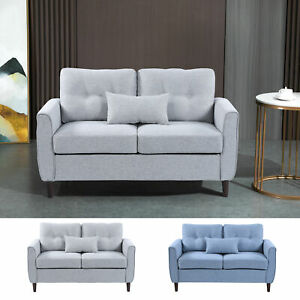 Traditional Double Sofa with Spring Padded Cushion and Armrest for Home Office