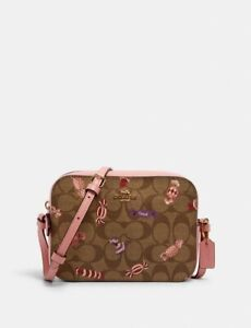 NWT COACH Mini Camera Bag In Signature Canvas With Candy Print
