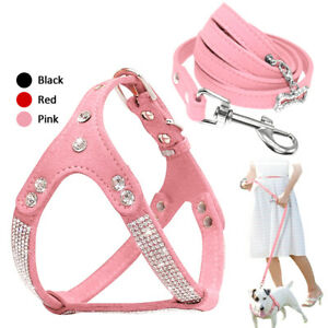 Bling Suede Leather Dog Harness & Leash Set Soft Rhinestone Studded Step-In Vest