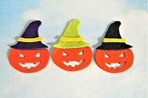 Felt die cut layered Halloween pumpkins x 3 embellishments toppers