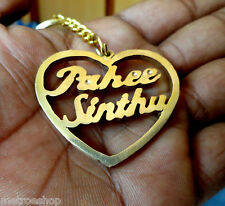 Heart Shaped Personal Names Keychain Handcarved Rare Gift Golden Color Special