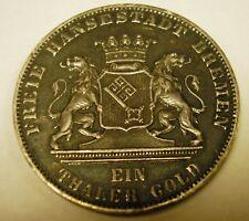 1865 B - EIN THALER GOLD - GERMANY - GERMAN STATES - FREE BREMEN - SILVER