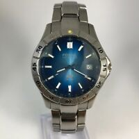 Fossil Mens AM3689 Blue Dial Silver Stainless Steel Quartz Analog Wristwatch
