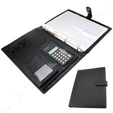A4 Black Conference Folder Leather Portfolio Document Organiser With Calculator