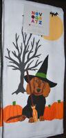 Novogratz Dachshund Halloween Kitchen Towels Pumpkin Witch Broom NWT New