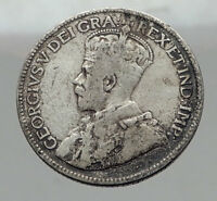 1918 CANADA - UK King George V - Authentic Original SILVER 25 CENTS Coin i62963