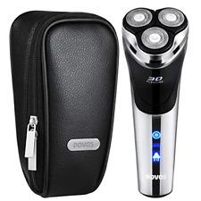 POVOS USB-Charged Men's Electric Razor Rotary Shaver, Wet & Dry Shaving Razors