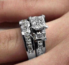 3.00CT PRINCESS CUT DIAMOND ENGAGEMENT RING BRIDAL SET 14K WHITE GOLD PD765E