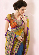 Designer Yellow and Blue Net plus Rawsilk Embroidered Wedding Saree SC7108A