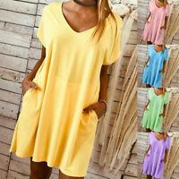 Women Short Sleeve Mini Dress Summer Pocket Casual Boho Kaftan Tunic Plus Size
