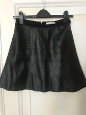 SANDRO Black Leather Skirt (Size 1)