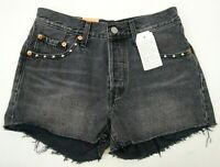 New Levi's 501 Womens Embellished Gray Bling Button Fly Denim Shorts Sz 25