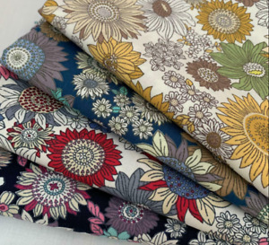 Rose & Hubble 100% Cotton poplin fabric - 60's Sunflower print multicoloured