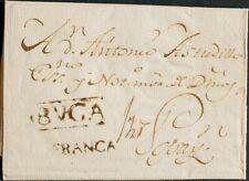 Colombie, Colonial. sur . 1809. Buga A Popayan. Marque Bvga et Franca, à Encre