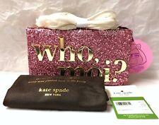 Kate Spade PXRU7437 Disney Miss Piggy Who Moi? Bag Clutch Pink Glitter
