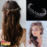 Diamante Wedding Hair Vine Pearl Rhinestone Headwear Bride Crystal Headbands