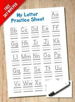 Alphabet & Handwriting Practice Sheet - A4 Reuseable - KS1 KS1 With Line Guides