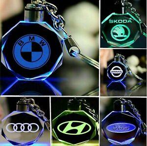 New LED Light Car Logo Crystal Keychain Light Changing Car Key Ring KeyFob UK
