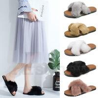 Women's Fur Slippers Rabbit Fluffy Slides Sandals Slip On Feather Cross Shoes
