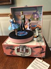 "Barbie ""At The Hop� Enesco Music Box Moving Dancers Record Player San Fran Box"