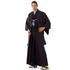 Japan Samurai Kimono Set 3-tlg Kendo Gi + Hakama + Haori Baumwolle Braun Schwarz