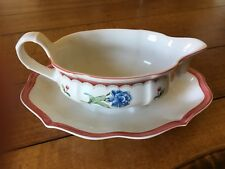Villeroy & Boch Jardin d'Alsace Fleur Gravy Boat with Attached Underplate Mint